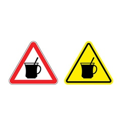 Warning sign attention hot coffee Hazard yellow vector image