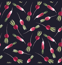 Watercolor radish seamless pattern vector