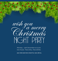 we wish you a merry christmas night party vector image