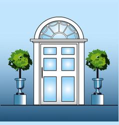 White door with topiary vector