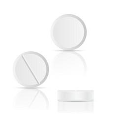 White round pills on background vector
