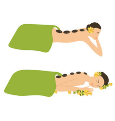 woman spa massage stone vector image