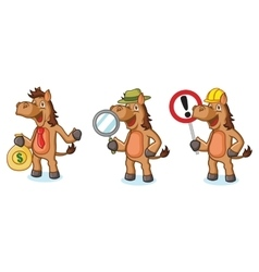 Brown Horse Mascot with money vector image