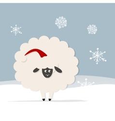 Funny sheep santa symbol of new year 2015 vector image vector image
