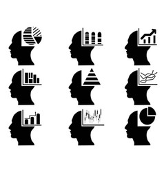business head with statistics icons set vector image