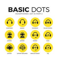 headphones flat icons set vector image