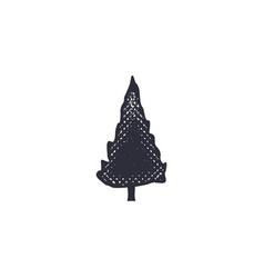 monochrome tree shape icon vintage hand drawn vector image