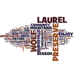 the preserve at wolf laurel text background word vector image vector image