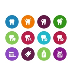 Tooth teeth circle icons on white background vector image vector image