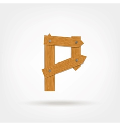 Wooden Boards Letter P vector image vector image