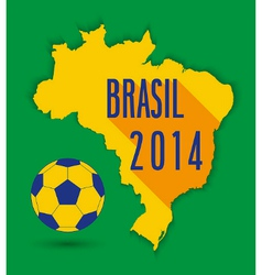 Brazilian map with ball vector image