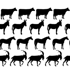 domestic animals silhouettes seamless pattern vector image