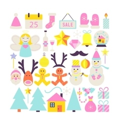 Happy New Year Cute Objects vector image vector image