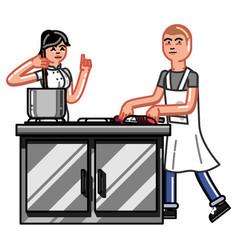 kitchen worker woman vector image vector image