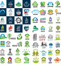 large set of logos homes and cities vector image vector image