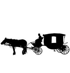 Vintage carriage with coachman vector image vector image