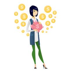 Asian business woman holding a piggy bank vector