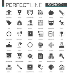 black classic web school icons set vector image vector image
