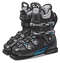 black ski boots vector image vector image