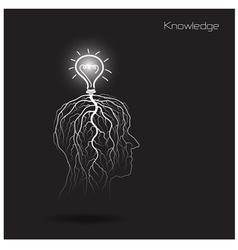 Creative light bulb shoot grow on human head vector image vector image