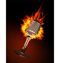 Microphone in Fire vector image vector image
