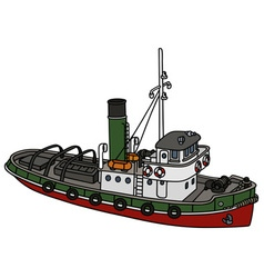Old harbour tugboat vector image vector image