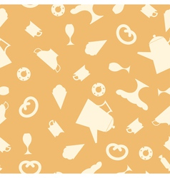 Seamless texture with tea items vector image vector image