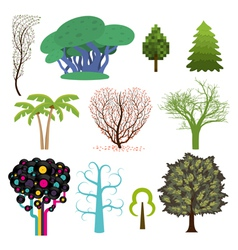 Set of trees in different styles vector image vector image
