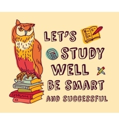 Study learning positive idea color card with sign vector image