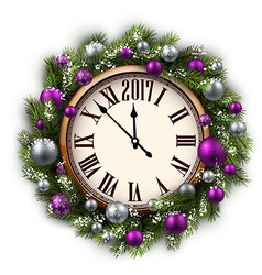 2017 New Year round clock vector