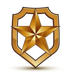3d heraldic template with pentagonal golden star vector