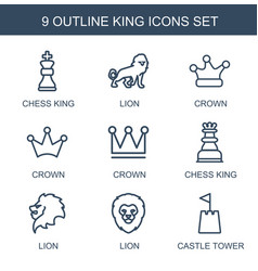 9 king icons vector image