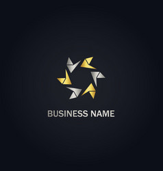abstract circle arrow company gold logo vector image