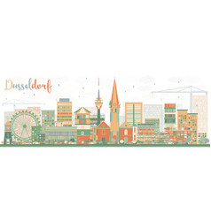 Abstract dusseldorf skyline with color buildings vector