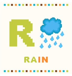 alphabet for children letter r and a rain isolat vector image
