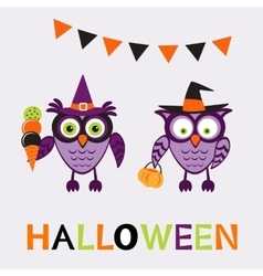 An of cute halloween owls vector image vector image