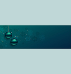 beautiful christmas balls banner with text space vector image