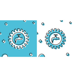 Black gearwheel with tap icon isolated on blue and vector