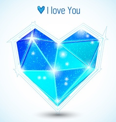 Blue triangle heart vector image