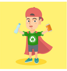 boy superhero with aluminum tin and plastic bottle vector image