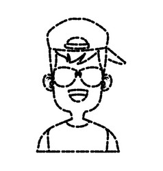 boy with sunglasses cartoon vector image