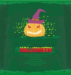 Broken halloween pumpkin on grunge green vector
