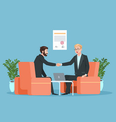 business contract partnership businessmen vector image