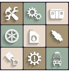 Car service maintenance flat icon set vector image