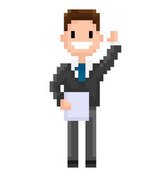 cheerful pixel character holding document paper vector image