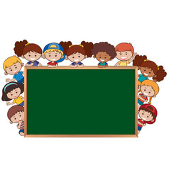 children next to the chalkboard template vector image