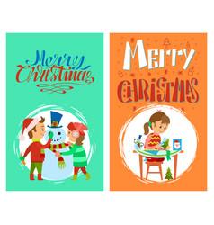 christmas holidays merry christmas postcards set vector image