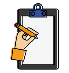 Clipboard document with hand writing vector