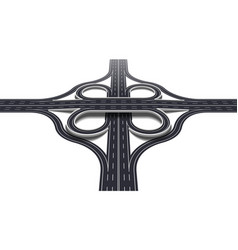 cloverleaf interchange two level perspective 3d vector image