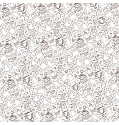 Coffee related doodle pattern backgroundTableware vector image